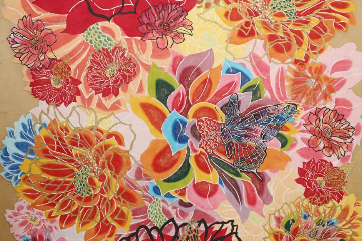 伝統工芸に自由な発想をプラスして、紅型にキラキラとした輝きを