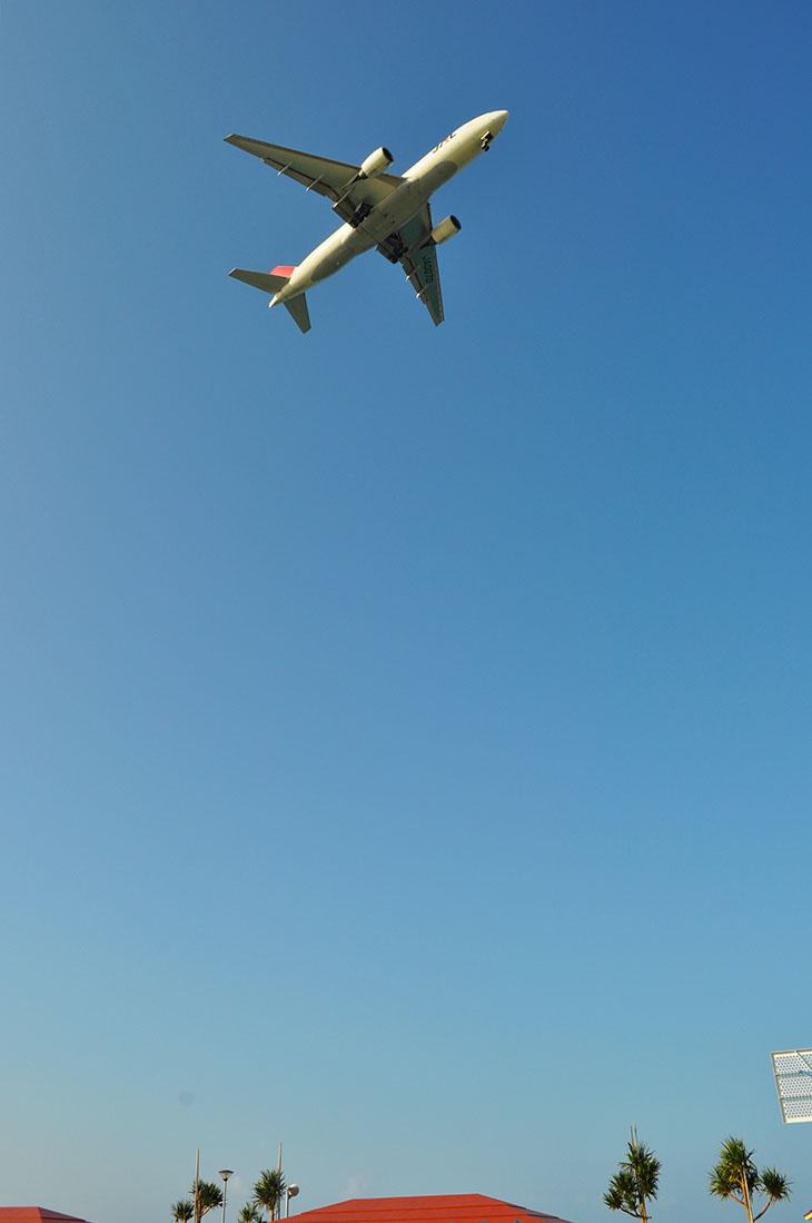 頭上を通過する飛行機は迫力満点