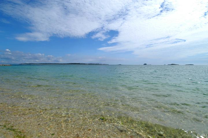 遠浅のビーチ