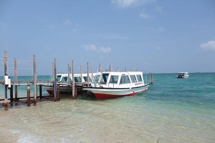 体を濡らさずに沖縄の海の中をのぞくことができるグラスボート