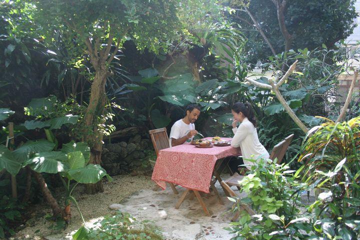 南国ならではの植物たちに囲まれた朝食はいかが?