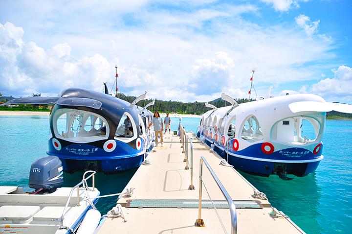 ブセナ海中公園のグラスボード2隻の写真