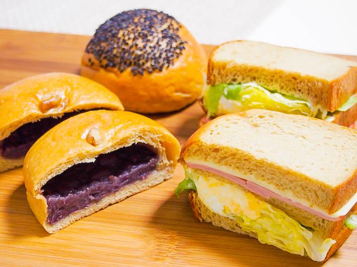 あんぱん、チーズパン、ごまボール、サンドウィッチ