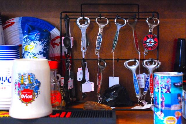 오리온 맥주 비매품 용품을  살 수 있는 잡화점「지사카스」