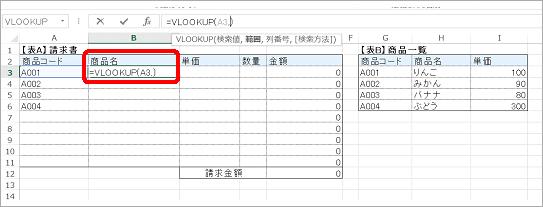 商品名のセルに「=VLOOKUP()」と入力