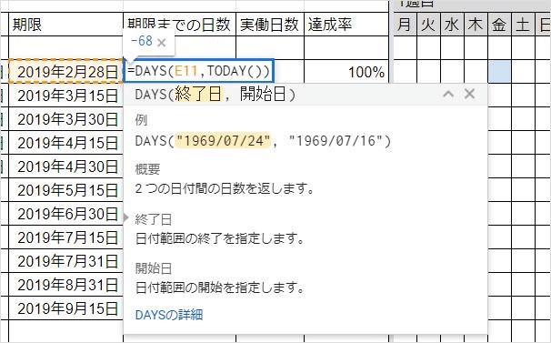期限までの日数を求める図1