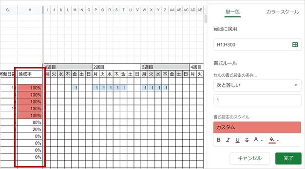 条件付き書式を列に反映する図