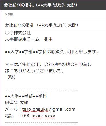 就活メール文例
