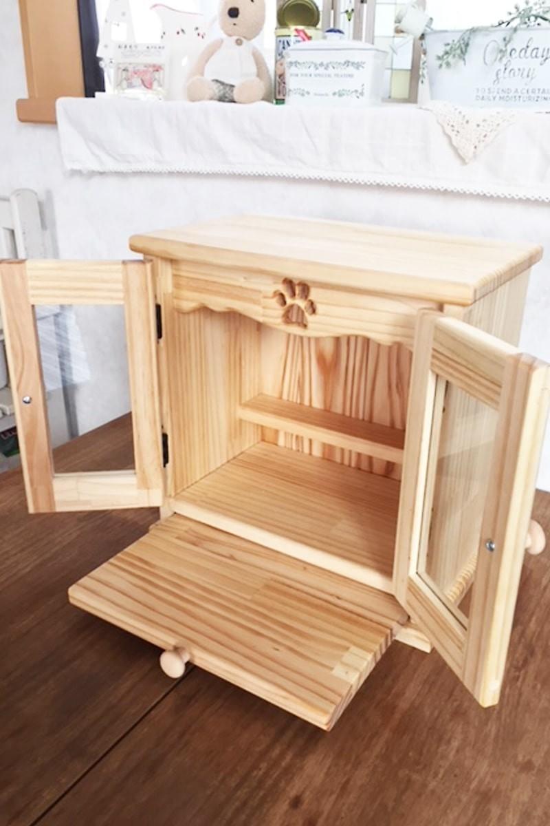 ペット用仏壇 メモリアルキャビネットの扉に使用した「透明ガラス」-2