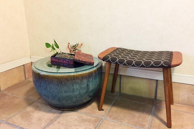 火鉢のサイドテーブルに使用した「強化ガラス」(1)