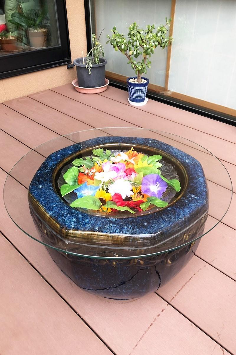 火鉢のベランダテーブルに使用した「強化ガラス」(1)