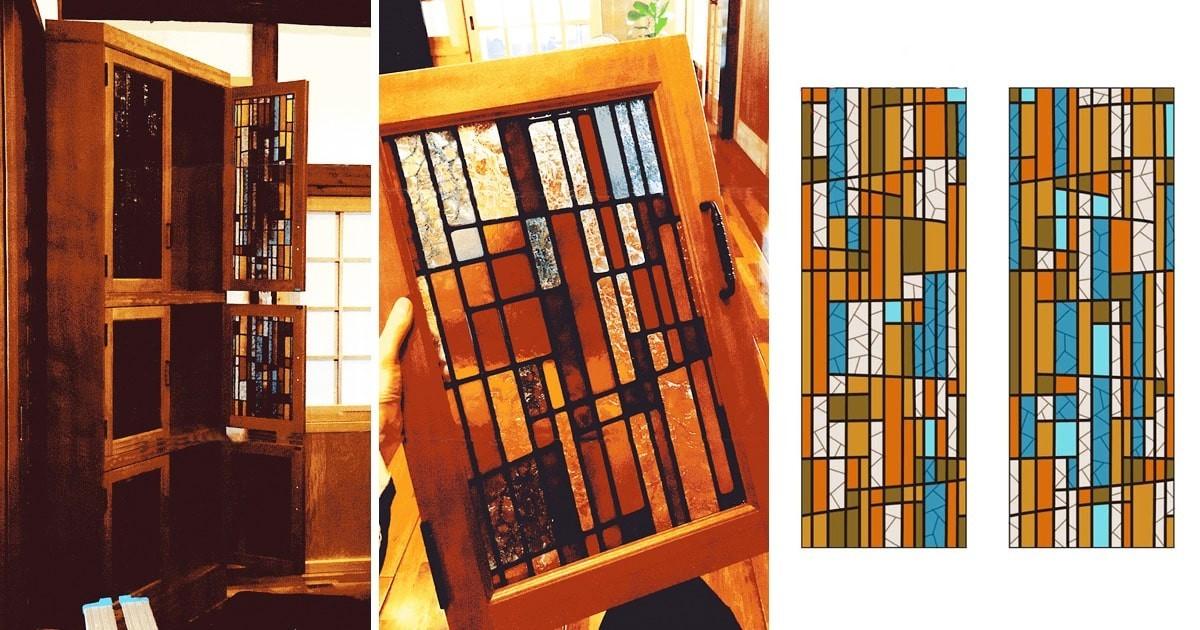 お客様事例 : 戸棚扉のガラスに「フルオーダーステンド」を設置した事例(福島県西白河郡 K社様)