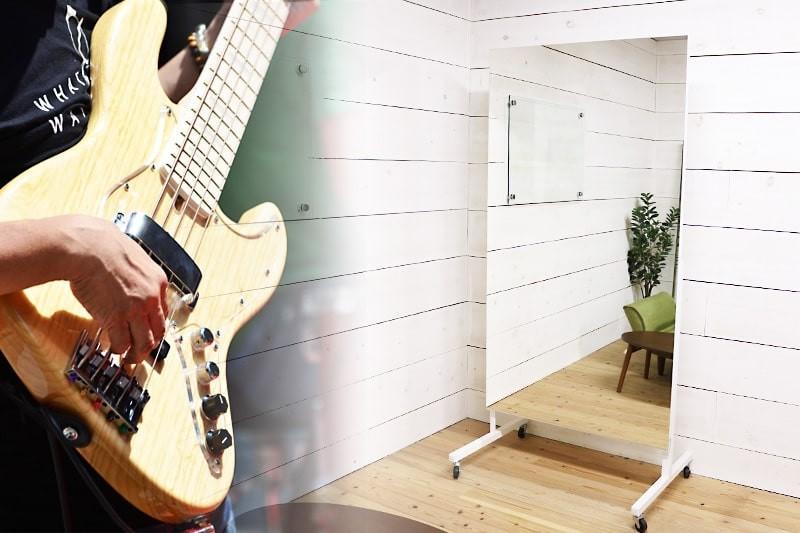 軽音楽部にオススメの大型ミラー-キャスター付き大型ミラー(1)