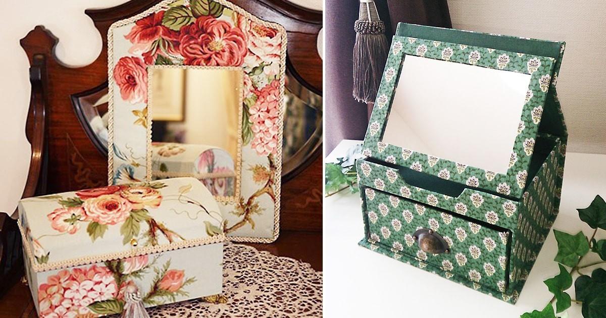 カルトナージュの作品づくりに鏡を使用した事例2選のお写真