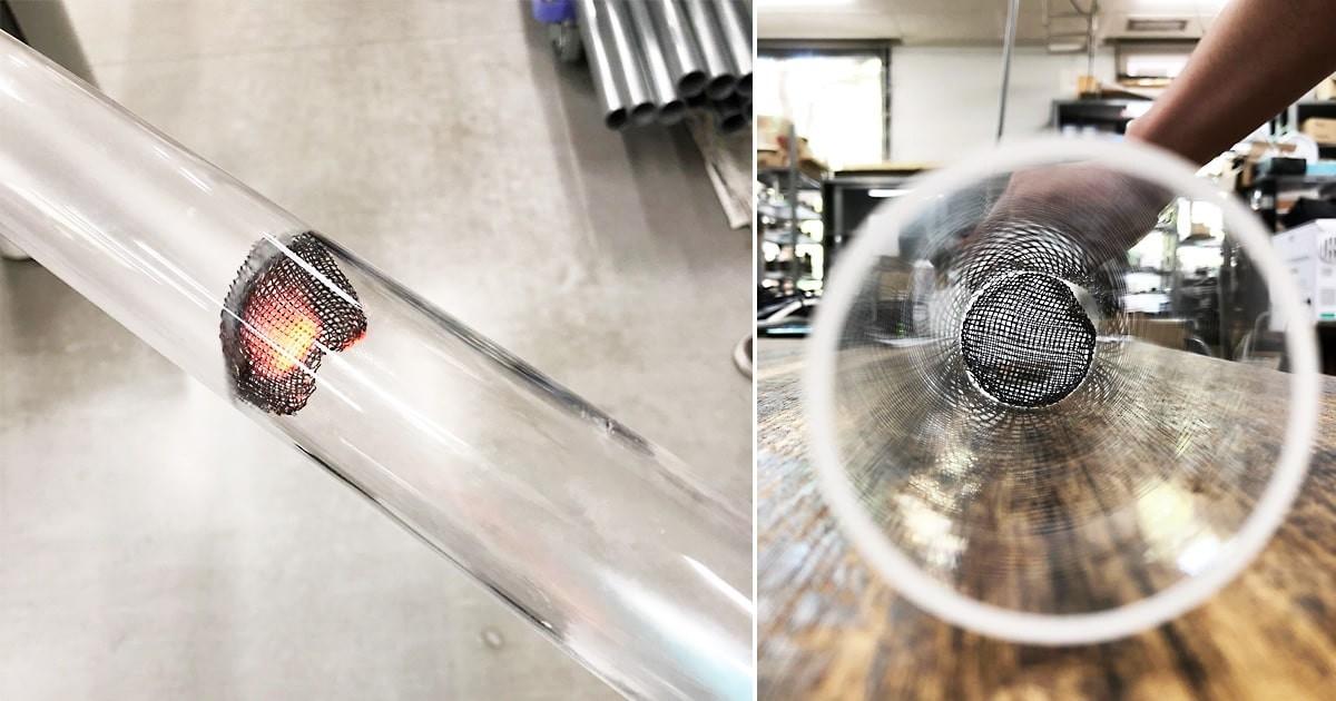 レイケ管を使った熱音響自励振動の研究に「石英管」を使用した事例(京都府京田辺市 S様)のお写真