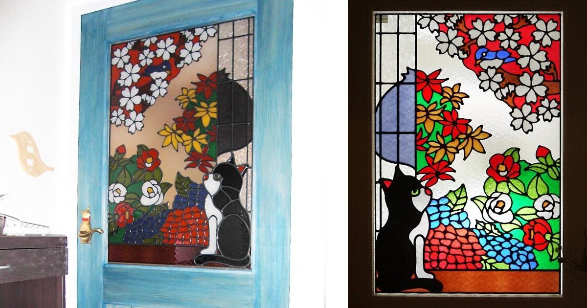 室内ドアに猫の「フルオーダーステンドグラス」を設置された事例(愛知県名古屋市 A建築事務所様)のお写真