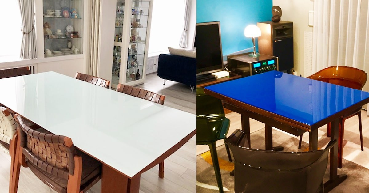カラーガラスで華やかに!テーブルトップに「セラミックプリントガラス」を設置した事例2選のお写真