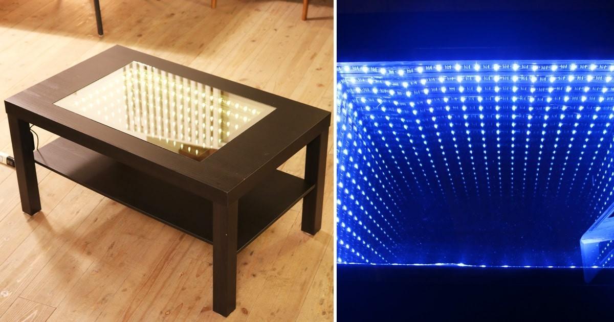 お客様事例 : インフィニティミラーで幻想的で奥行きのある光のテーブルを製作された事例