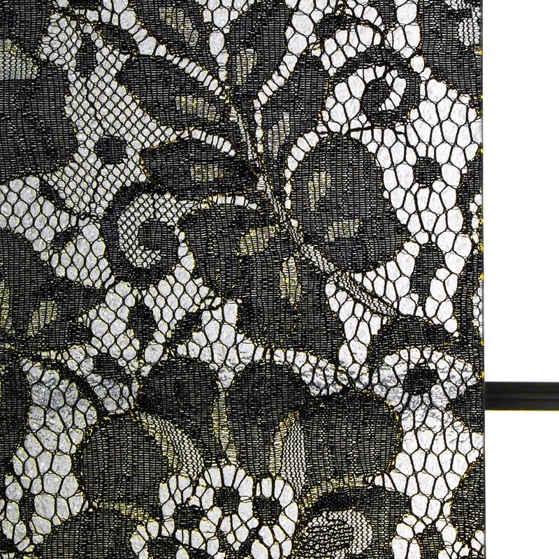 商品写真 : レースガラス ゴージャスフラワー ゴールドラメ柄 ブラック(1)