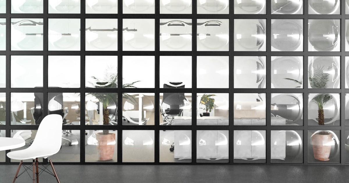 オフィスや店舗にオススメ!曲げガラスを使用したパーテーション・壁面装飾のお写真