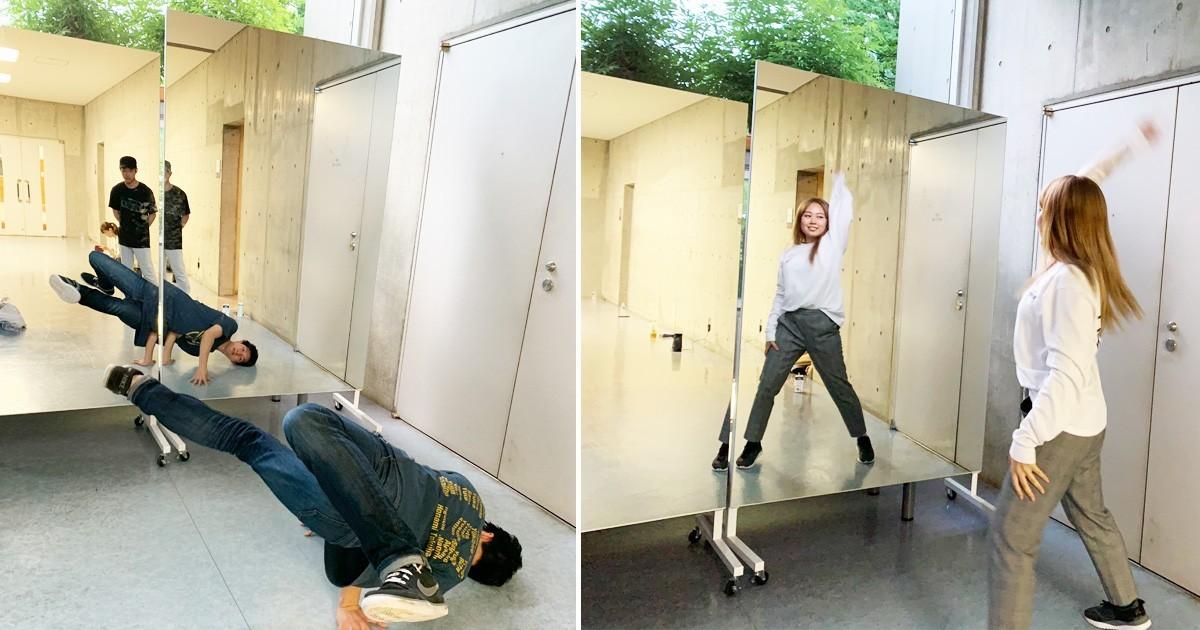ストリートダンス部の練習用鏡に「キャスター付き大型ミラーll」を使用した事例のお写真