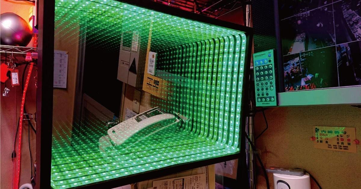 お客様事例 : 「ガラスミラー」と「マジックミラー」を使用してインフィニティ―ミラーを製作した事例(埼玉県K社様)