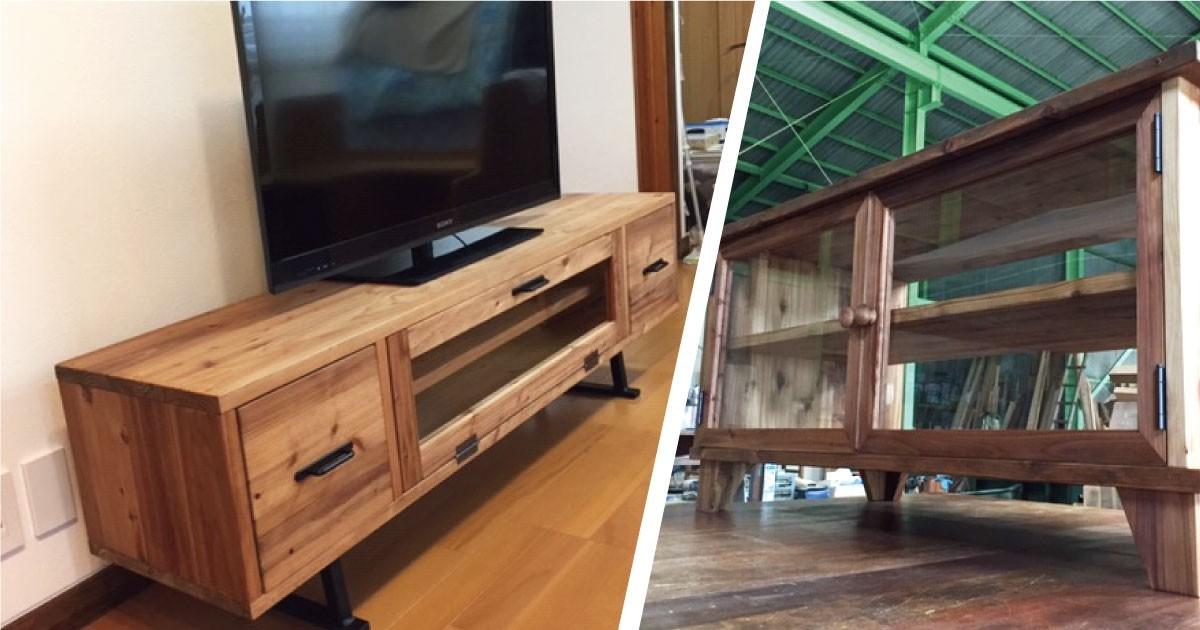 テレビボードをDIY!「フロートガラス」をテレビボードの扉に使用した事例(愛媛県W様)のお写真