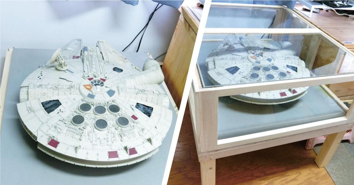 自作の模型をインテリアに!テーブルトップに「強化ガラス」を使用した事例(東京都S様)のお写真