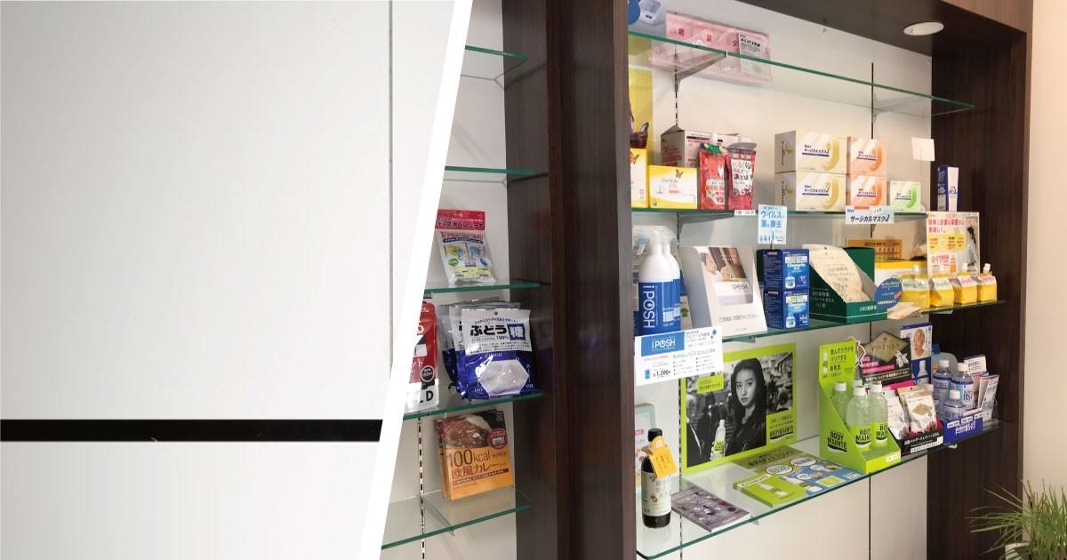 お店の陳列棚に「強化ガラス」の棚板を使用した事例(京都府H様)のお写真