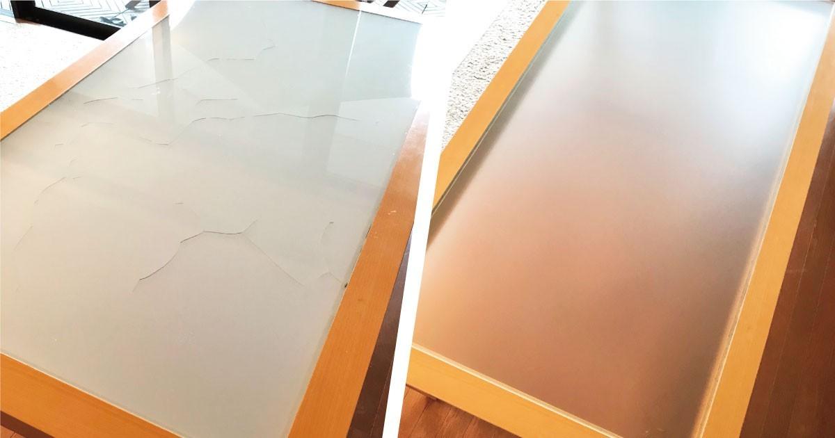 ガラスのテーブルトップの割れ替えをした事例2選のお写真