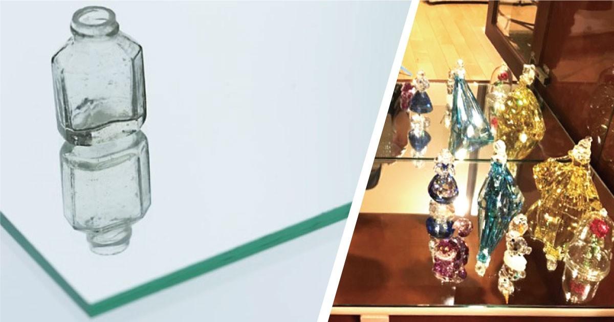 スワロフスキーのオブジェの展示台に「ガラスミラー」を使用した事例(静岡県I様)のお写真