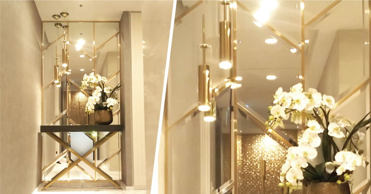 ゴージャスなモデルルームに「ガラスミラー」「フロストミラー」を組み合わせて装飾した事例(東京都T様)のお写真