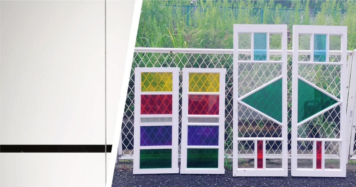 「フロートガラス」を使用した建具にグラスアートを施した事例(神奈川県I様)のお写真