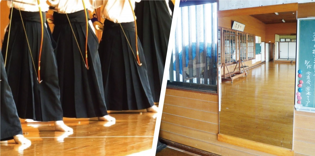 弓道場の射型チェック用に持ち運びできる「パネルミラー」を使用した事例(長野県K様)のお写真
