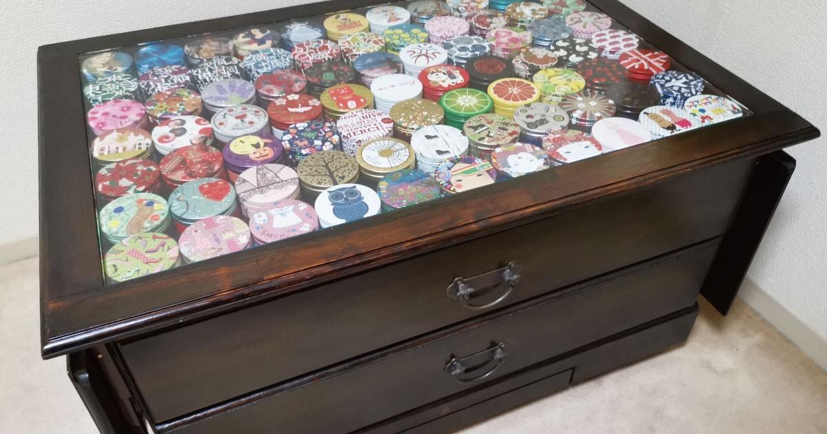 コレクションテーブルをDIY!テーブルトップに「強化ガラス」を使用した事例(千葉県H様)のお写真