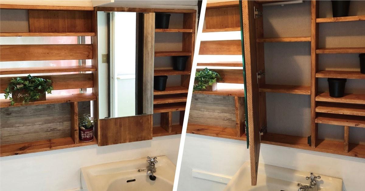 洗面所の造作棚をDIY!「ガラスミラー」を収納扉に設置した事例(茨城県N様)のお写真