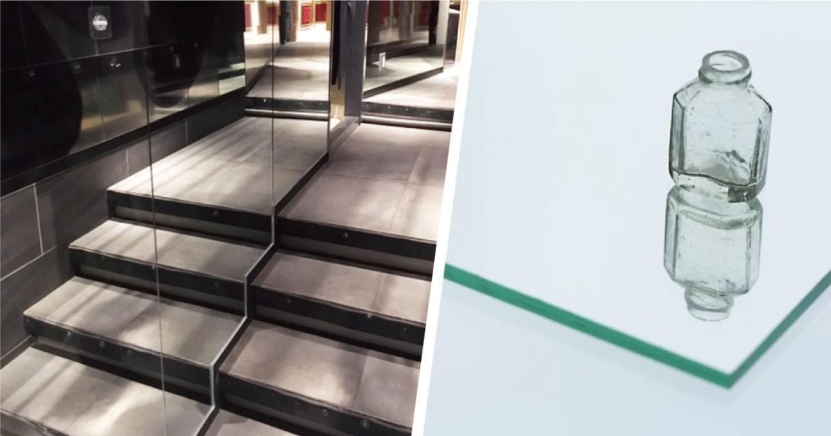 階段通路をオシャレなミラー張りに!切込み加工した「ガラスミラー」を使用した事例(東京都B様)のお写真