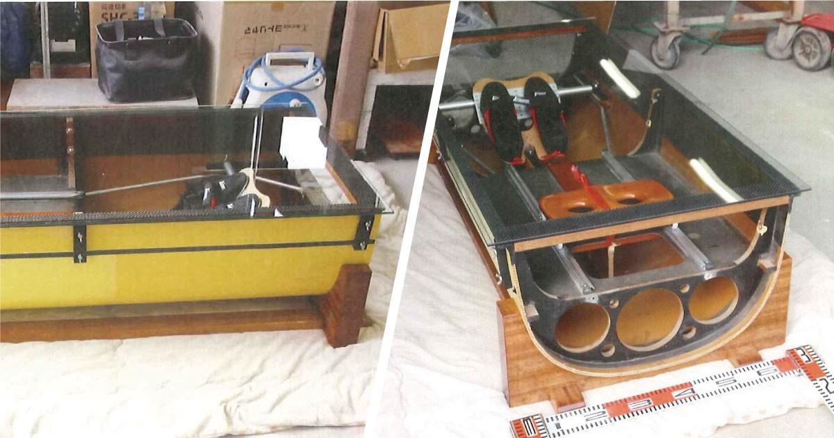 艇をテーブルに改造!テーブル天板に「強化ガラス」を使用した事例(滋賀県I様)のお写真