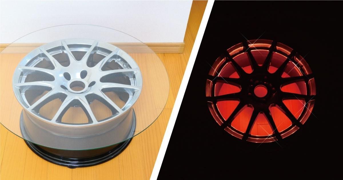 タイヤをリメイク!オシャレなローテーブルに「フロートガラス」を使用した事例(滋賀県F様)のお写真