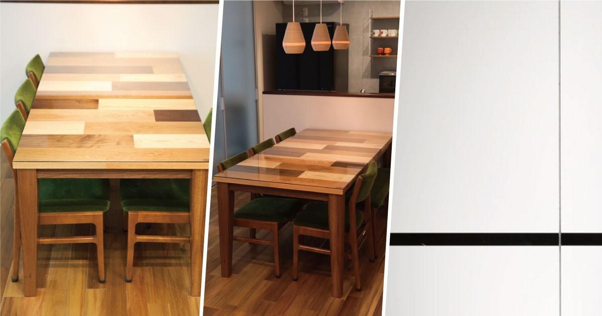 素材を活かす!木製テーブルの天板に「強化ガラス」を使用した事例(島根県K様)のお写真