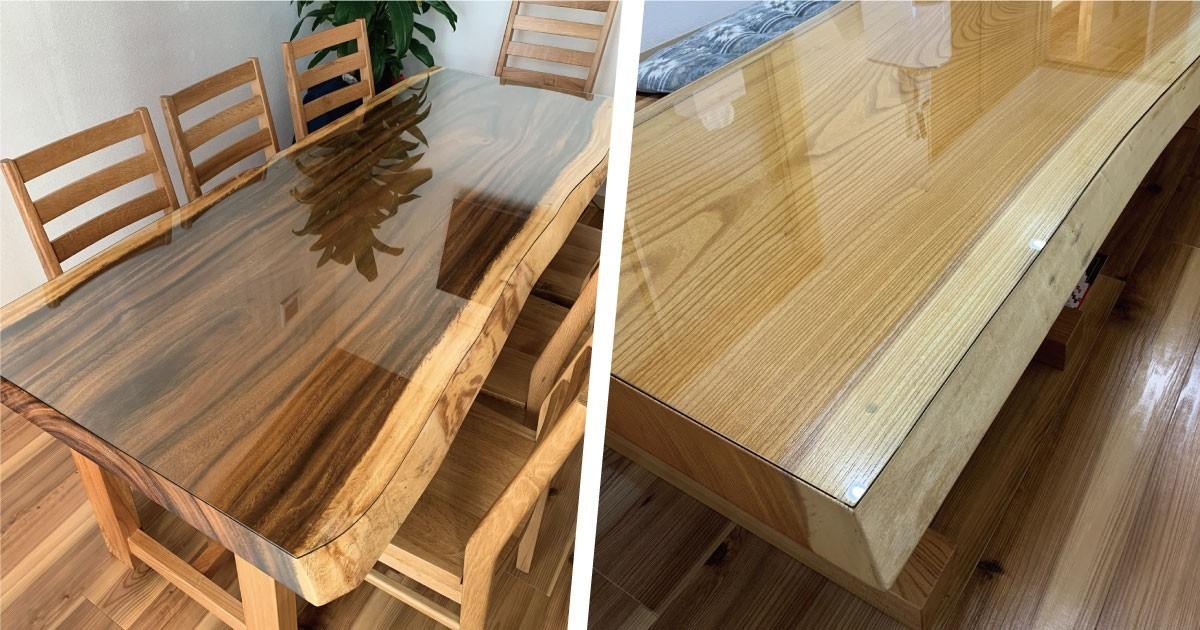 無垢材テーブルに合わせた異形のテーブルトップを製作した事例(宮城県Y様)のお写真