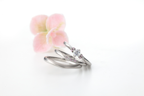 Milk&strawberry engagement ring, wedding ring [ESTELA] Estella