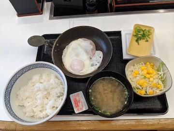ハムエッグ納豆定食1