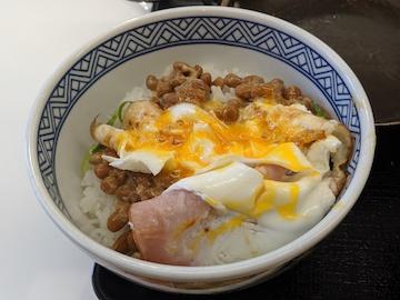 ハムエッグ納豆定食4