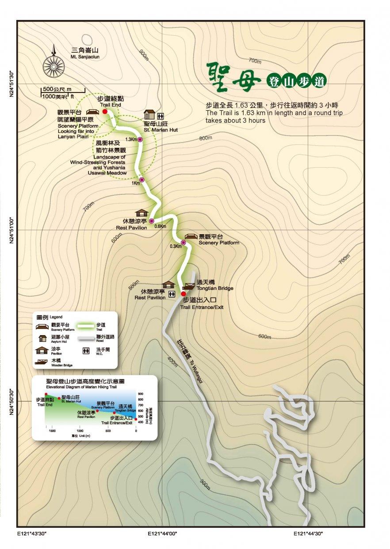 聖母登山步道路線圖