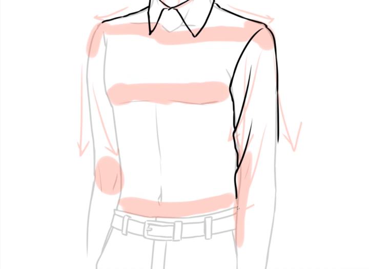 スーツの袖を描く