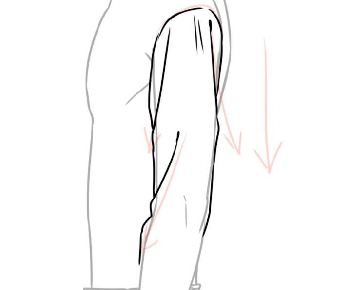 シャツの袖のシワ