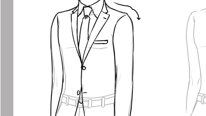 胸ポケットを描く