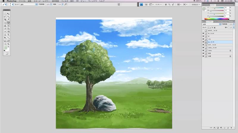 山と森を描く