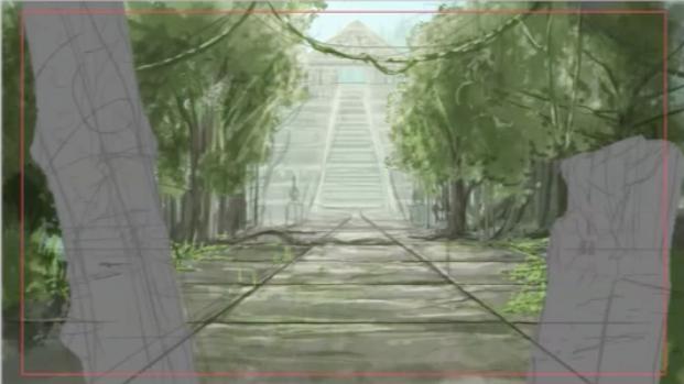 木の蔦や建物の階段を描き足す
